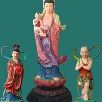 鳌鱼观音菩萨佛像厂家 站观音厂家直销 贴金树脂佛像