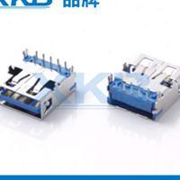 供应香港星坤AF四脚插板USB3.0母座无导位蓝胶铜壳