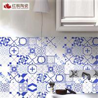 红枫陶瓷欧式复古仿古小花砖300*300瓷砖艺术彩色陶瓷花砖