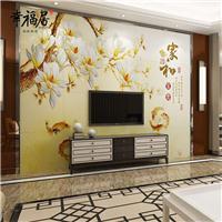 幸福居佛山批发厂家 中式定制客厅电视背景墙3D防玉雕 富贵满堂