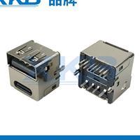 TYPE-C母座/180度立式直插DIP带鱼叉/双层USB