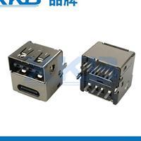 3.1双层连接器TYPE-C14P与USB2.0双面插连体 车充专用支持pd快充
