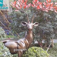 度帆户外 红枝玻璃钢鹿雕塑摆件 园林雕塑