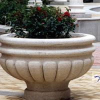 上海园林景观别墅石雕花盆、黄锈石花钵、黄金麻花钵厂家