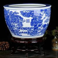 景德镇口径90CM陶瓷大缸 清明上河图鱼缸 家居收藏摆件