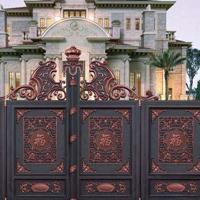 铸铝庭院护栏大门 铝合金护栏围墙大门 别墅庭院铝艺护栏大门定做