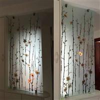 艺术玻璃玄关背景墙客厅磨砂透光隔断雕刻雕花工艺玻璃屏风