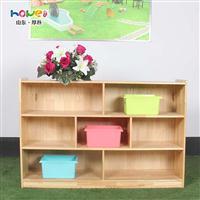 儿童实木玩具多层收纳架橡木七格玩具分类整理储物柜厂家直销