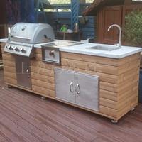 北欧小院G240 碳化木户外整体厨房 别墅庭院烧烤台 烧烤台图片