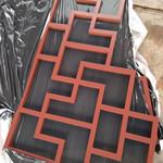 仿古假村铝制品花格窗花-方管木纹仿古焊接铝漏窗花定制厂家