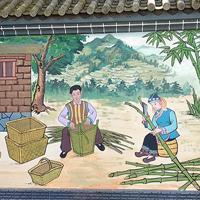 尼族墙体彩绘手绘墙绘墙画墨江普洱彩绘红河墙绘墙画哈尼族文化