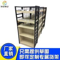 厂家定做超市钢木货架展示架便利店双层零食货架